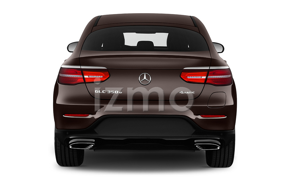 Straight rear view of a 2018 Mercedes Benz GLC Coupe 350 e 5 Door SUV stock images