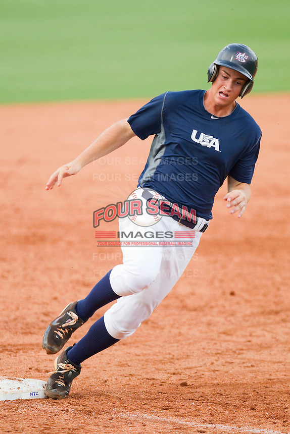 Marcus Littlewood #53 of Team Blue rounds third base against Team Red during the USA Baseball 18U National Team Trials at the USA Baseball National Training Center on June 30, 2010, in Cary, North Carolina.  Photo by Brian Westerholt / Four Seam Images