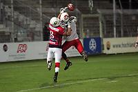 Defensive Back Muk Kang (Braunschweig Lions) verteidigt gegen Chris Jackson (Wide Receiver Stuttgart Scorpions)