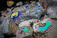 An unexpected splash of brightly colored drawings on a small section of the rocky bank at the San Leandro Marina Park