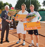 2013-08-17, Netherlands, Raalte,  TV Ramele, Tennis, NRTK 2013, National Ranking Tennis Champ,  Runners up doubles: Janick Lupescu ® and Sander Arends left Floris Jonkers<br /> <br /> Photo: Henk Koster