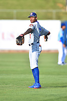 Chattanooga Lookouts center fielder Byron Buxton (7) warms up before a game against the Tennessee Smokies on April 25, 2015 in Kodak, Tennessee. The Smokies defeated the Lookouts 16-10. (Tony Farlow/Four Seam Images)