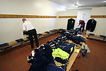 Faroe Islands 0 Scotland 2, 06/06/2007. Svangaskard, Toftir, Euro 2008 Qualifying. Backroom staff laying out the Scotland team kit in the away dressing room before the Euro 2008 group B qualifying match at the Svangaskard stadium in Toftir between the Faroe Islands and Scotland. The visitors won the match by 2 goals to nil to stay in contention for a place at the European football championships which were to be held in Switzerland and Austria in the Summer of 2008. It was the first time Scotland had won in the Faroes, the previous two matches ended in draws. Photo by Colin McPherson.