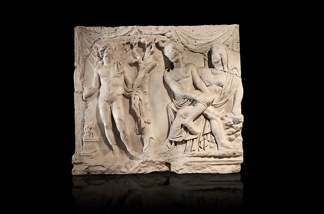 Roman relief sculpture of the Myth of Adonis. Roman 2nd century AD, Hierapolis Theatre.. Hierapolis Archaeology Museum, Turkey . Against an black background