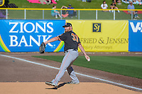 Fresno Grizzlies starting pitcher Jake Buchanan (33) warms up in the bullpen before the game against the Salt Lake Bees in Pacific Coast League action at Smith's Ballpark on June 13, 2015 in Salt Lake City, Utah.  (Stephen Smith/Four Seam Images)