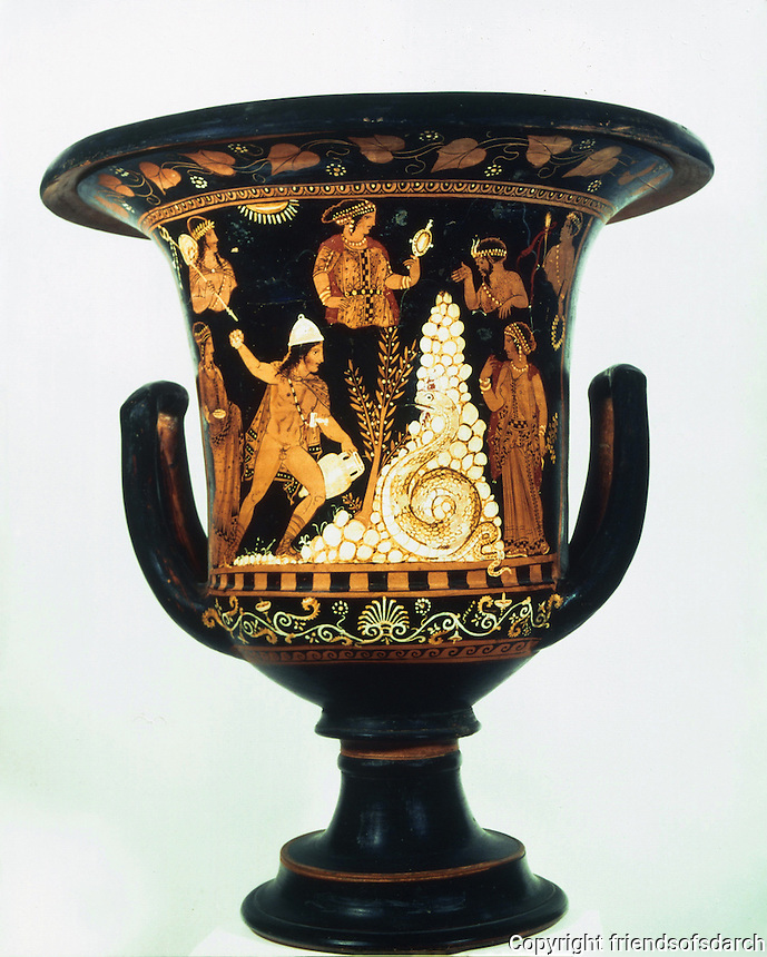 Greek Art:  Cratere attribue a Python. Cadmos et le dragon. Paestum vers 330 av. J.-C.  Louvre.  Reference only.