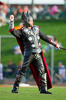 "A man dressed as ""Thor"" throws out the first pitch on ""Super Hero Night"" prior to the Midwest League game between the Wisconsin Timber Rattlers and the Great Lakes Loons at the Dow Diamond on May 4, 2013 in Midland, Michigan.  The Timber Rattlers defeated the Loons 6-4.  (Brian Westerholt/Four Seam Images)"