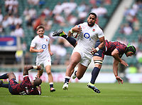 4th July 2021; Twickenham, London, England; International Rugby, Autumn Internationals, England versus United States of America; Joe Cokanasiga of England shrugs off the tackles from Marcel Brache and Jamason Fa'anana-Schultz of USA to go on and score a try