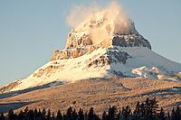Early morning light on mountain near Blairsmore, Alberta, Canada