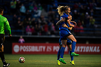 Seattle, Washington -  Saturday April 22, 2017: Beverly Yanez celebrates during a regular season National Women's Soccer League (NWSL) match between the Seattle Reign FC and the Houston Dash at Memorial Stadium.