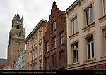 Cathedral Sint-Salvator Tower over Neo-Classical Buildings on Zuidzandstraat, Bruges, Brugge, Belgium