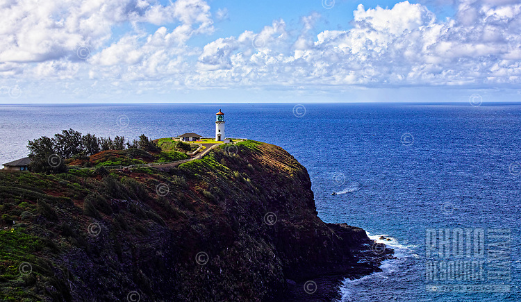 A beautiful late afternoon view of Kaua'i's historic Kilauea Lighthouse, which marks the northernmost point of the Hawaiian Islands.