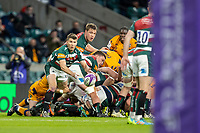 21st May 2021; Twickenham, London, England; European Rugby Challenge Cup Final, Leicester Tigers versus Montpellier; Richard Wigglesworth of Leicester Tigers passes the ball