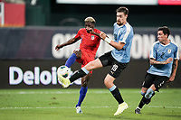 St. Louis, MO - SEPTEMBER 10:  of the United States takes a shot during their game versus Uruguay at Busch Stadium, on September 10, 2019 in St. Louis, MO.
