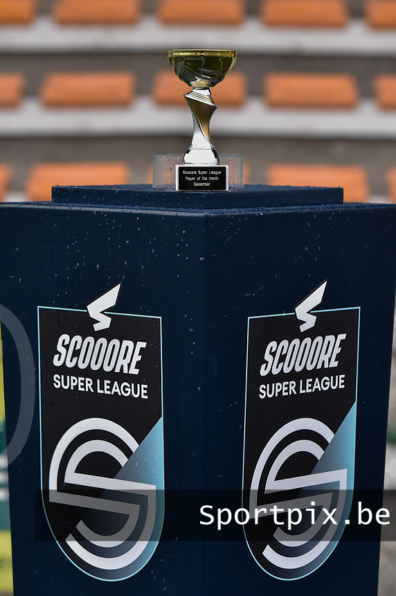 """illustration picture of the """"Trophee of The Scooore Super League Player of the Moth December""""  pictured during a female soccer game between SV Zulte - Waregem and Sporting Charleroi on the eleventh matchday of the 2020 - 2021 season of Belgian Scooore Womens Super League , saturday 23 th of January 2021  in Zulte , Belgium . PHOTO SPORTPIX.BE 