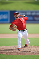 GCL Nationals relief warmup pitcher Tim Collins (96) delivers a warmup pitch during the first game of a doubleheader against the GCL Mets on July 22, 2017 at The Ballpark of the Palm Beaches in Palm Beach, Florida.  GCL Mets defeated the GCL Nationals 1-0 in a seven inning game that originally started on July 17th.  (Mike Janes/Four Seam Images)
