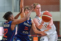 Emma Meesseman (11) of Belgium , Tina Krajisnik (33) of Serbia and Yvonne Anderson (12) of Serbia pictured during a basketball game between the national teams of Belgium , called the Belgian Cats , and Serbia on Friday 28 th of May 2021 in Kortrijk , Belgium . PHOTO SPORTPIX.BE   SPP   STIJN AUDOOREN