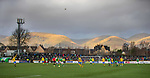 09.02.2020 BSC Glasgow v Hibs: The wind carries the ball above the Ochil Hills