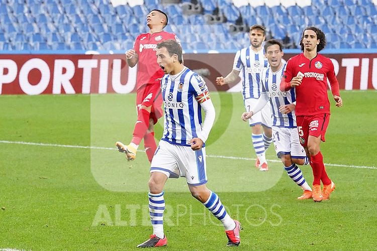 Real Sociedad's Mikel Oyarzabal celebrates goal during La Liga match. October 3, 2020. (ALTERPHOTOS/Acero)