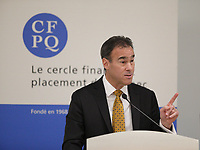 Pierre Dion, President & CEO of Quebecor deliver a speech  before the  Cercle finance et placement du Quebec, Wenesday, March 23rd, 2016<br /> <br /> PHOTO : Pierre Roussel - Agence Quebec Presse