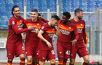 Roma's Gianluca Mancini, second from left, celebrates with his teammates, from left, Chris Smalling, Stephan El Shaarawy, Amadou Diawara, and Bryan Cristante after scoring during the Italian Serie A Football match between Roma and Genoa at Rome's Olympic stadium, March 7, 2021.<br /> UPDATE IMAGES PRESS/Riccardo De Luca