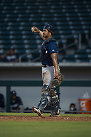 AZL Brewers catcher Caleb Marquez (57) during an Arizona League game against the AZL Cubs 1 at Sloan Park on June 29, 2018 in Mesa, Arizona. The AZL Cubs 1 defeated the AZL Brewers 7-1. (Zachary Lucy/Four Seam Images)