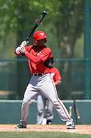 Washington Nationals outfielder Rafael Bautista (12) during a minor league spring training game against the Atlanta Braves on March 26, 2014 at Wide World of Sports in Orlando, Florida.  (Mike Janes/Four Seam Images)