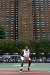 J.J. Hickson (44) shoots a free throw during the Elite 24 Hoops Classic game on September 1, 2006 held at Rucker Park in New York, New York.  The game brought together the top 24 high school basketball players in the country regardless of class or sneaker affiliation.