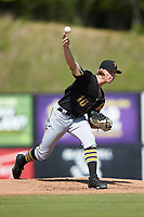 Bristol Pirates starting pitcher Shane Baz (10) delivers a pitch to the plate against the Danville Braves at American Legion Post 325 Field on July 1, 2018 in Danville, Virginia. The Braves defeated the Pirates 3-2 in 10 innings. (Brian Westerholt/Four Seam Images)