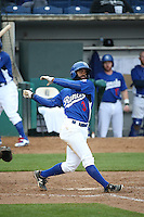 Andrew Toles (3) of the Rancho Cucamonga Quakes bats against the Lake Elsinore Storm at LoanMart Field on April 10, 2016 in Rancho Cucamonga, California. Lake Elsinore defeated Rancho Cucamonga, 7-6. (Larry Goren/Four Seam Images)