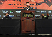 LAS VEGAS, NV - AUG 19:  Robert Guerrero, Ray Flores and Victor Ortiz at the undercard press conference at the MGM Grand Garden Arena on August 19, 2021 for the upcoming Fox Sports PBC pay-per-view fight in Las Vegas, Nevada. Pacquaio vs Ugas pay-per-view will be on August 21 at T-Mobile Arena in Las Vegas. (Photo by Scott Kirkland/Fox Sports/PictureGroup)