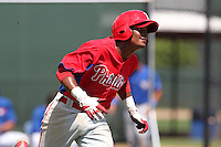 Philadelphia Phillies Jairo Cardozo #21 during a minor league spring training game against the Toronto Blue Jays at the Carpenter Complex on March 16, 2012 in Clearwater, Florida.  (Mike Janes/Four Seam Images)