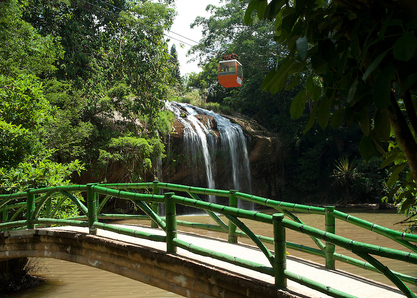 Cable Car rides over Prenn Falls in Dalat Vietnam