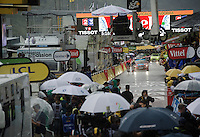chaos rules at the finish of stage 9 in Andorra Arcalis (coming from Velha Val d'Aran/ESP, 184km) when a fierce thunderstorm (heavy rain/hail) hits as Rui Costa (POR/Lampre-Merida) & Rafal Majka (POL/Tinkoff) sprint for 2nd place<br /> <br /> 103rd Tour de France 2016