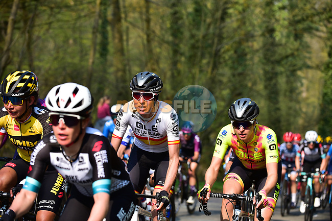 The peloton including Spanish Champion Margarita Victo Garcia Canellas (ESP) ALE' BTC Ljubljana during the 2021 Flèche-Wallonne Femmes, running 130.2 km from Huy to Huy, Belgium. 21st April 2021.  <br /> Picture: A.S.O./Gautier Demouveaux | Cyclefile<br /> <br /> All photos usage must carry mandatory copyright credit (© Cyclefile | A.S.O./Gautier Demouveaux)