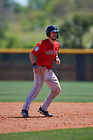 Boston Red Sox Kole Cottam (29) leads off during a Minor League Spring Training game against the Tampa Bay Rays on March 25, 2019 at the Charlotte County Sports Complex in Port Charlotte, Florida.  (Mike Janes/Four Seam Images)