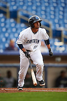 Lake County Captains third baseman Ordomar Valdez (11) at bat during a game against the Fort Wayne TinCaps on May 20, 2015 at Classic Park in Eastlake, Ohio.  Lake County defeated Fort Wayne 4-3.  (Mike Janes/Four Seam Images)