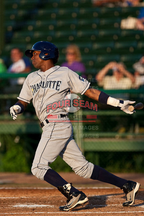 Isaias Velasquez (30) of the Charlotte Stone Crabs during a game vs. the Daytona Cubs June 1 2010 at Jackie Robinson Ballpark in Daytona Beach, Florida. Charlotte won the game against Jupiter by the score of 4-1.  Photo By Scott Jontes/Four Seam Images