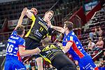 Adam Loenn (TVB Stuttgart #11) ; Lukas Saueressig (HBW Balingen #26) ; Romas Kirveliavicius (HBW Balingen #5) ; Zarko Pesevski (TVB Stuttgart #44) ; BGV Handball Cup 2020 Halbfinaltag: TVB Stuttgart vs. HBW Balingen-Weilstetten am 11.09.2020 in Ludwigsburg (MHPArena), Baden-Wuerttemberg, Deutschland<br /> <br /> Foto © PIX-Sportfotos *** Foto ist honorarpflichtig! *** Auf Anfrage in hoeherer Qualitaet/Aufloesung. Belegexemplar erbeten. Veroeffentlichung ausschliesslich fuer journalistisch-publizistische Zwecke. For editorial use only.