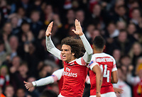 Arsenal's Matteo Guendouzi celebrating first goal during the UEFA Europa League Semi-Final 1st leg match between Arsenal and Valencia at the Emirates Stadium, London, England on 2 May 2019. Photo by Andrew Aleksiejczuk / PRiME Media Images.