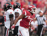 NWA Democrat-Gazette/BEN GOFF @NWABENGOFF<br /> Jared Cornelius, Arkansas wide receiver, leaves the field after breaking his arm on a play in the first quarter on Saturday Sept. 19, 2015 during the game in Razorback Stadium in Fayetteville.