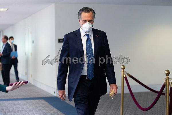 United States Senator Mitt Romney (Republican of Utah) leaves the GOP Policy Luncheons at the Hart Senate Office Building in Washington D.C., U.S. on Thursday, May 21, 2020. Credit: Stefani Reynolds / CNP/AdMedia