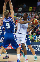 20 AUG 2014 - LONDON, GBR - Drew Sullivan (GBR) (right) from Great Britain tries to avoid a challenge from Jon Arnor Stefansson (ISL) (left) from Iceland during their men's 2015 EuroBasket 3rd Qualifying Round game at the Copper Box Arena in the Queen Elizabeth Olympic Park in Stratford, London, Great Britain (PHOTO COPYRIGHT © 2014 NIGEL FARROW, ALL RIGHTS RESERVED)