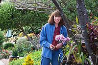 Sally Robertson in her garden