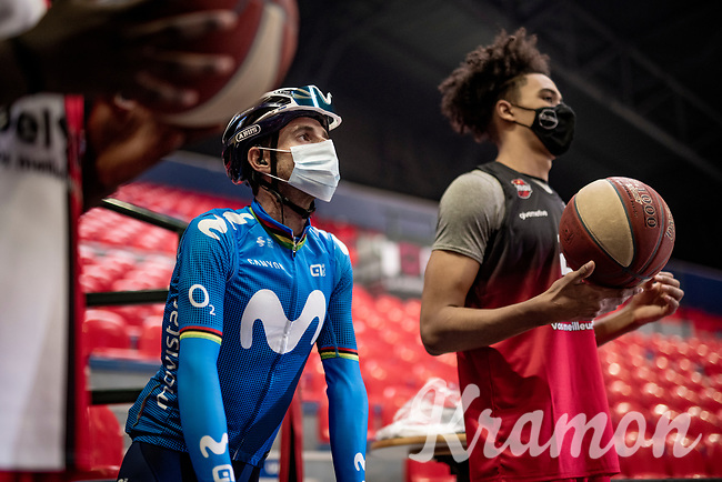 Alejandro Valverde (ESP/Movistar) during his last Flèche Wallonne (which he won 5 times) team presentation inside the empty Spirou Basketbal Dome in Charleroi<br /> <br /> 85th La Flèche Wallonne 2021 (1.UWT)<br /> 1 day race from Charleroi to the Mur de Huy (BEL): 194km<br /> <br /> ©kramon