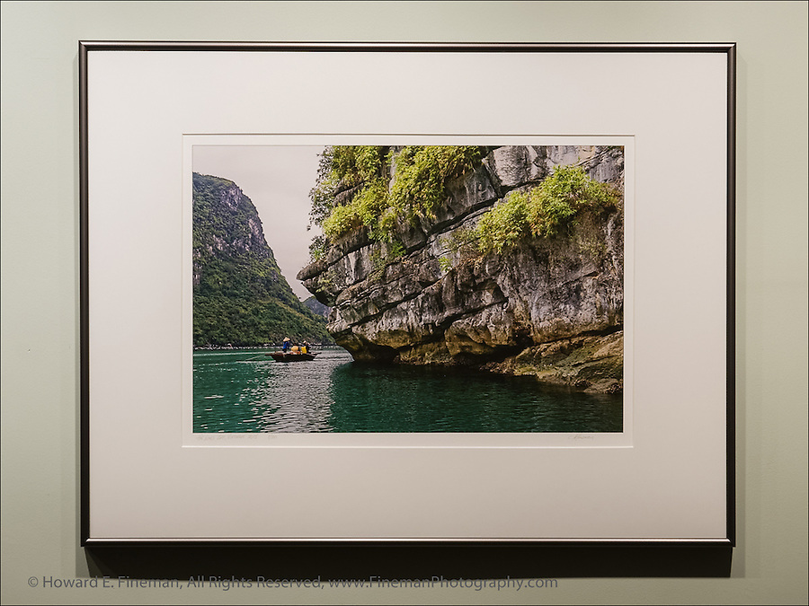 """Ha Long Bay in Gulf of Tonkin, Vietnam, near floating village of fishermen. This print was selected for the Newton Open Studios """"Invitational"""" showcasing work of artists who previously received top juror awards."""