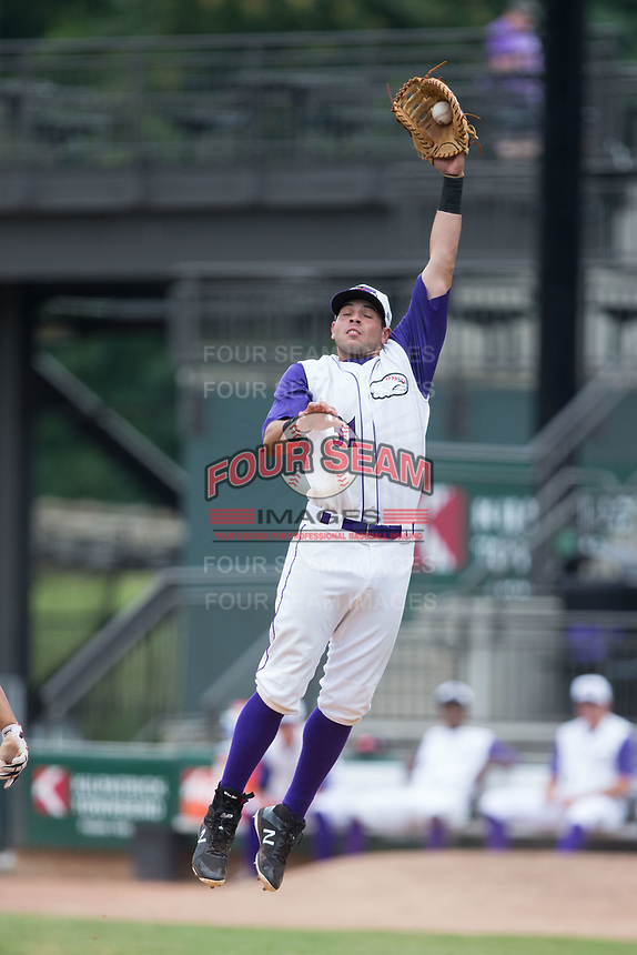 Winston-Salem Dash first baseman Brandon Dulin (31) jumps for a high throw during the game against the Potomac Nationals at BB&T Ballpark on August 6, 2017 in Winston-Salem, North Carolina.  The Nationals defeated the Dash 4-3 in 10 innings.  (Brian Westerholt/Four Seam Images)