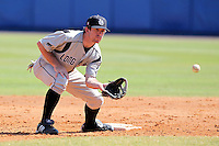 Long Island Blackbirds second baseman Brad Greve #3 during a game vs. Dartmouth Big Green at Chain of Lakes Park in Winter Haven, Florida;  March 20, 2011.  Dartmouth defeated Long Island 6-0.  Photo By Mike Janes/Four Seam Images