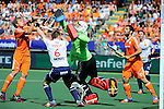 The Hague, Netherlands, June 13: Constantijn Jonker #27 of The Netherlands tries to score during the field hockey semi-final match (Men) between The Netherlands and England on June 13, 2014 during the World Cup 2014 at Kyocera Stadium in The Hague, Netherlands. Final score 1-0 (1-0)  (Photo by Dirk Markgraf / www.265-images.com) *** Local caption *** Constantijn Jonker #27 of The Netherlands, Henry Weir #6 of England, George Pinner #1 of England, Valentin Verga #10 of The Netherlands, Michael Hoare #12 of England