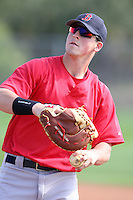 March 18, 2010:  First Baseman Chris McGuiness of the Boston Red Sox organization during Spring Training at Ft.  Myers Training Complex in Fort Myers, FL.  Photo By Mike Janes/Four Seam Images